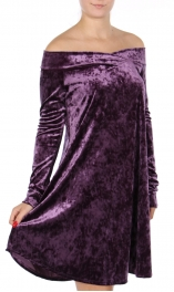 Wholesale N00A Crushed velvet off shoulder dress Purple