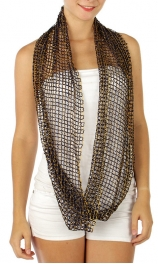 wholesale M87 Lurex net infinity scarf Black fashionunic