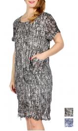 Wholesale I05B Abstract dyed pleated short dress w/ side fringe