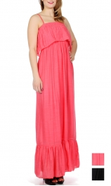 Wholesale G46B Gauzed solid maxi dress w/ flare bottom