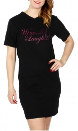 Wholesale A15A WINE V neck nightshirt Black