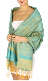 wholesale D33 Whole Jacquard Pashmina 52 Yellow Mint