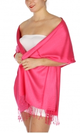 wholesale D36 Solid HD Wedding Pashmina 33 Fuchsia