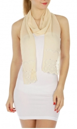 wholesale Oblong cutout chiffon scarf Beige fashionunic