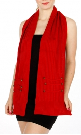 Wholesale P35B Button Detailed Knit scarf BK
