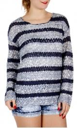 Wholesale J05A Striped knit sweater Blue
