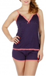 Wholesale K65B Polka dot print laced camisole & shorts pj set Coral/Navy