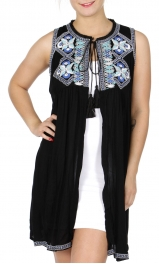 Wholesale K92B Cotton embroidery open front duster BLACK