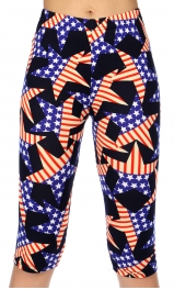 Wholesale P10B Stars American flag print softbrush capri leggings