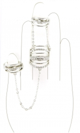 Wholesale L30A Three chained faux crystal rings R
