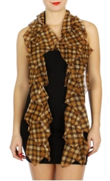 Wholesale H00C Sparkly checkered pattern ruffle scarf BE