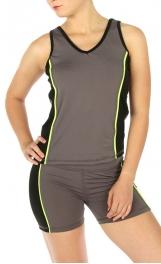 wholesale I21 Colorblock short yoga set Grey/Black