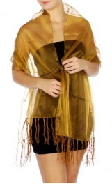 WholesaleN12D Sheer Evening Shawl w/ Tassels GD