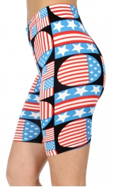 wholesale E41C Geometric flag softbrush bermuda leggings