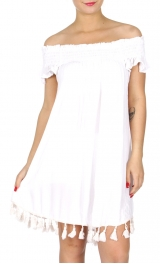 Wholesale G41D Solid off the shoulder short dress w/ tassels