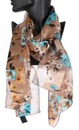 Wholesale WA00 Japanese flower satin stripe scarf BE