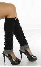 Wholesale R09 Long two tone leg warmer Black fashionunic