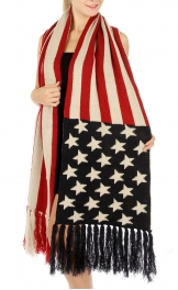 Wholesale T11 Oblong usa knit scarf Red/Blue fashionunic