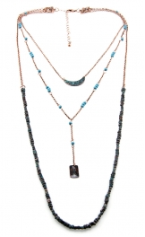 Wholesale M12D Three tier bead and metal necklace OG