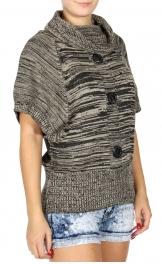 Wholesale U15C Marled cowl neck sweater Beige