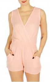 Wholesale N16D V-neck sleeveless wrapped front romper Black