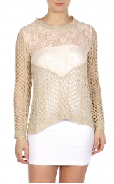 Wholesale S66 Crochet and lace top Taupe fashionunic