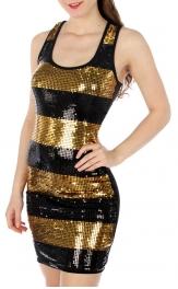 wholesale M24 Sequin stripe front dress Gold S