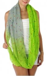 wholesale J01 Teardrop Print Infinity Scarf Green