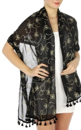 wholesale H39 Flower embroidery sequins scarf BKWH