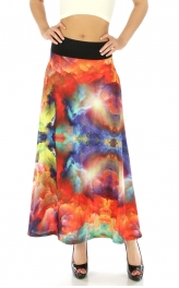 Wholesale M31 Wide waistband maxi skirt Red fashionunic