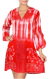 Wholesale H40A Tie dye 3/4 sleeve flower & lace dress BLACK