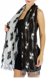wholesale O64 Simple flower elastic scarf Brown