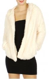 Wholesale N01D Faux Fur Hooded Jacket Cream
