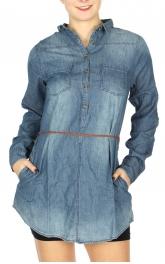 Wholesale S66A Braided belt tunic washed denim shirts Denim