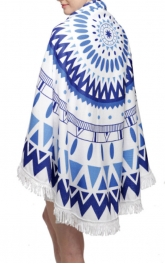 Wholesale O00E Tribal print round beach blanket & shawl w/ fringe