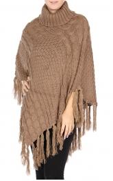 Wholesale S29 Turtleneck fringed knit poncho Black