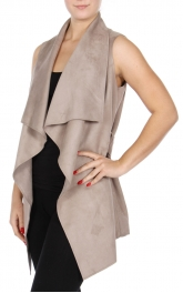 Wholesale R11D Faux suede vest with belt Mushroom