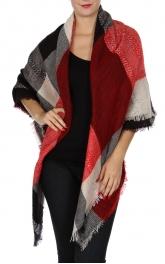 Wholesale Y20B Plaid blanket scarf REDBLK