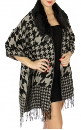 Wholesale P01D Houndstooth woven wrap w/fur collar and finge Black