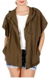 Wholesale J08E Short sleeve oversize zip up jacket Olive One Size