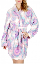 Wholesale R35 Peace print plush robe Pink