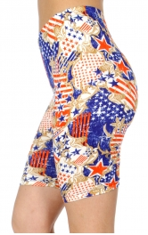 wholesale E40B Filigree & flag softbrush bermuda leggings