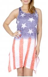 Wholesale I18B Lace insert racerback American flag dress Blue