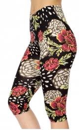 Wholesale C08A Peony & red rose softbrush capri leggings
