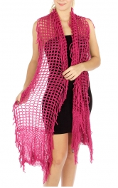 wholesale Q11 Solid fringe mesh knit scarf BK
