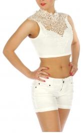 wholesale K15 Lace halter crop top White fashionunic