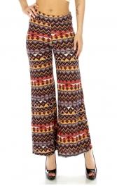 Wholesale C18 Geometric cotton blend pants Yellow/Grey