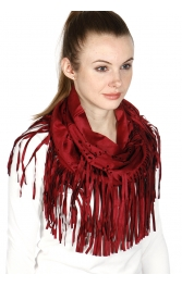 Wholesale R29 Fringed faux suede infinity scarf Brown