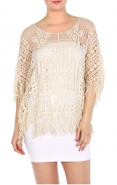 Wholesale H09 Fringed long Lace top Ivory