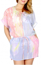 Wholesale K12A Watercolor drawstring coverup Plus size